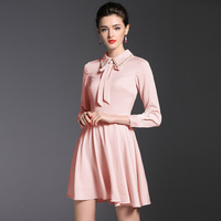 ShowMi Long Sleeve Satin Dresses Women Pink Black A Line Diamond Embedded Turn Down Collar Formal