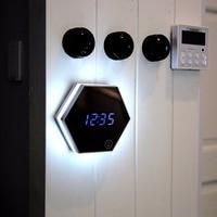 LED Night Light Clock Thermometer Mirror Glass Digital Luminous Alarm Clock Mute Eye Protecting Unique Gift Drop Shipping