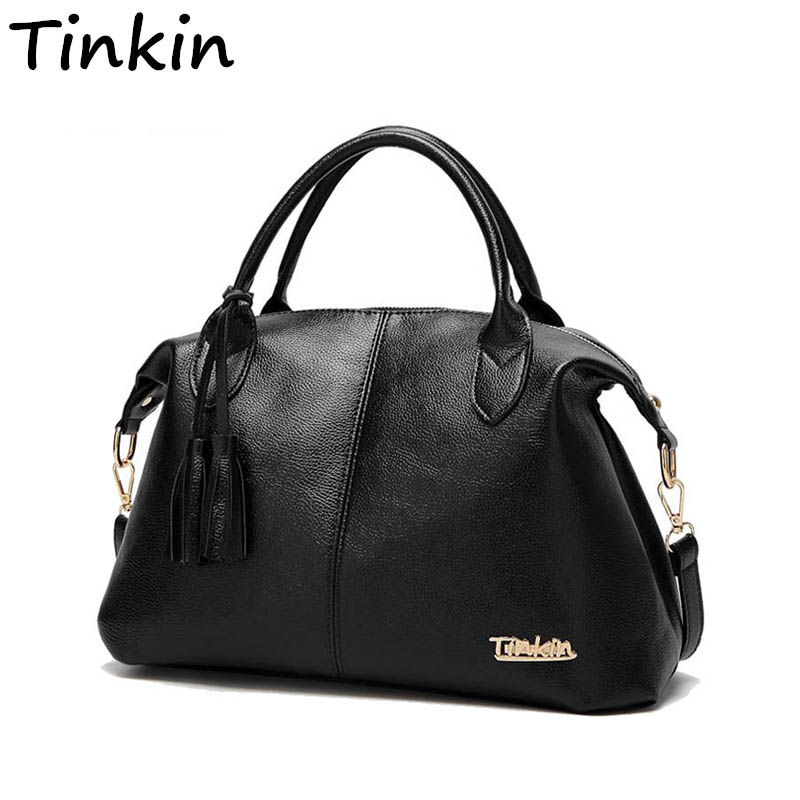 Tinkin High Capacity Soft Casual PU Leather Female Handbag Fashion Women Shoulder Bags Daily Women Tote All Match Messenger Bag