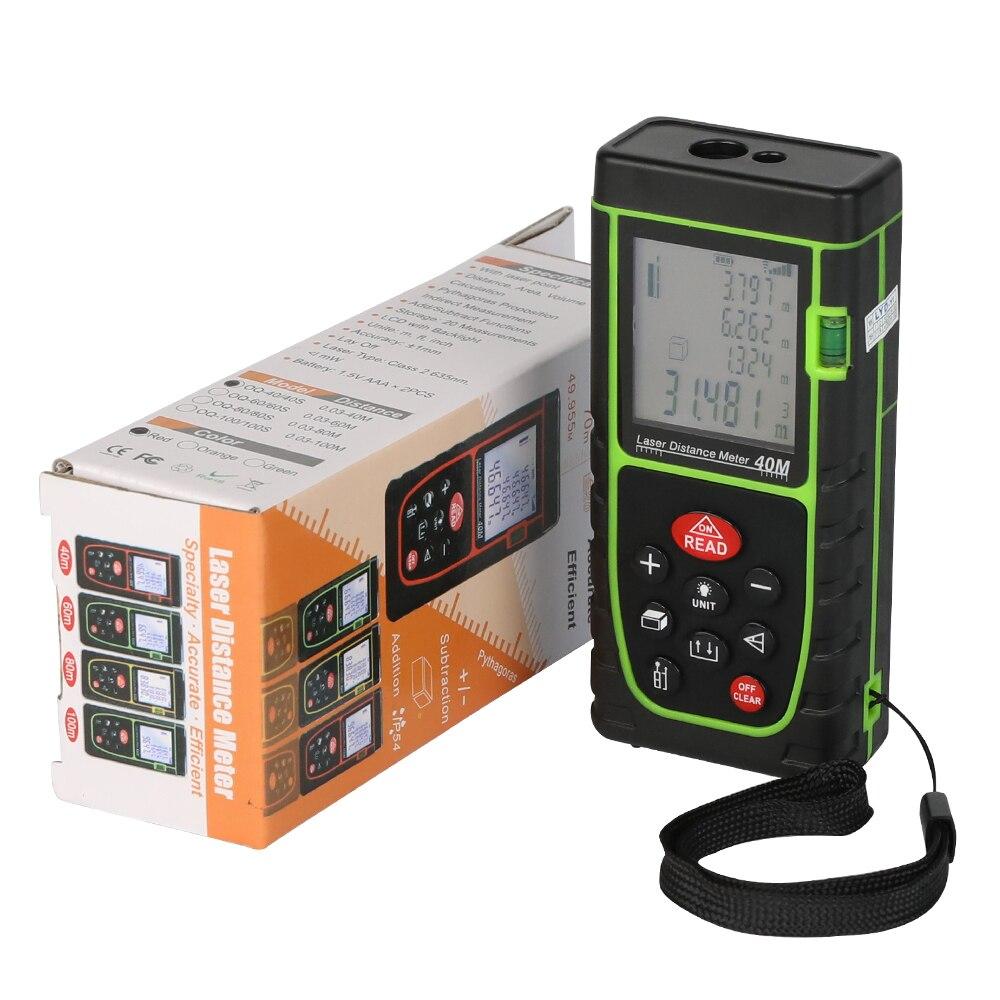 Neue ankunft grün 40 mt-100 M hohe präzision handheld laser-entfernungsmesser maßband laser-entfernungsmesser mit bequem hand seil