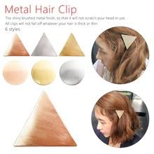 Korean jewelry Simple Elegant Head wear  Girls Hairpins Triangle Round Hair Clip Metal Gold Silver Pin Accessories