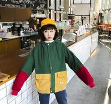 Winter new stitching hooded college wind jacket loose wild