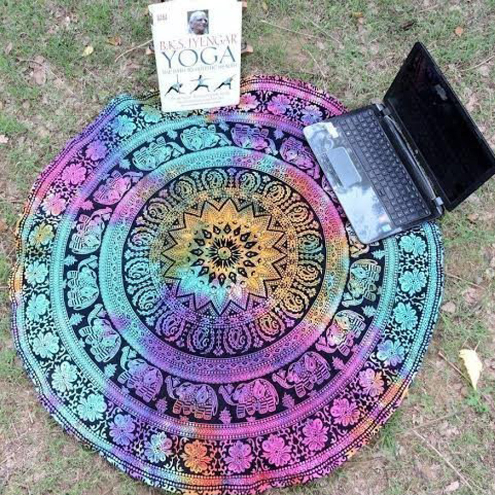 Round Beach Pool Home Shower Towel Blanket Table Cloth Yoga Mat Wonderful