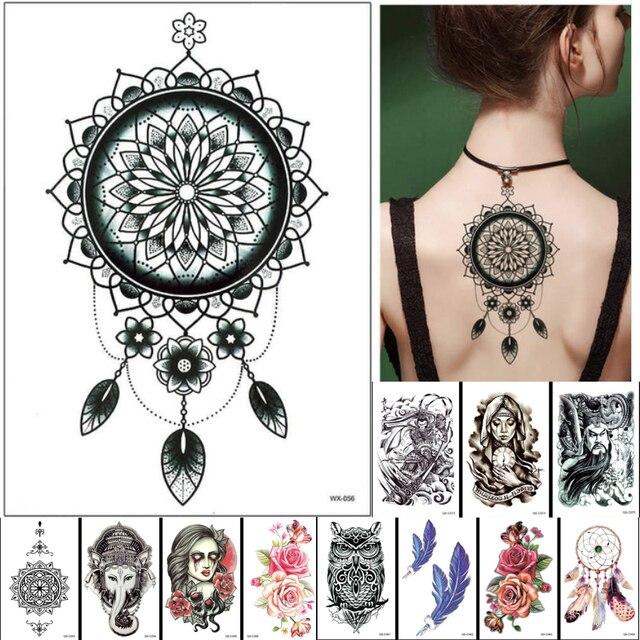 Dreamcatcher Designs Indian Arabic Fake Black Temporary Tattoos