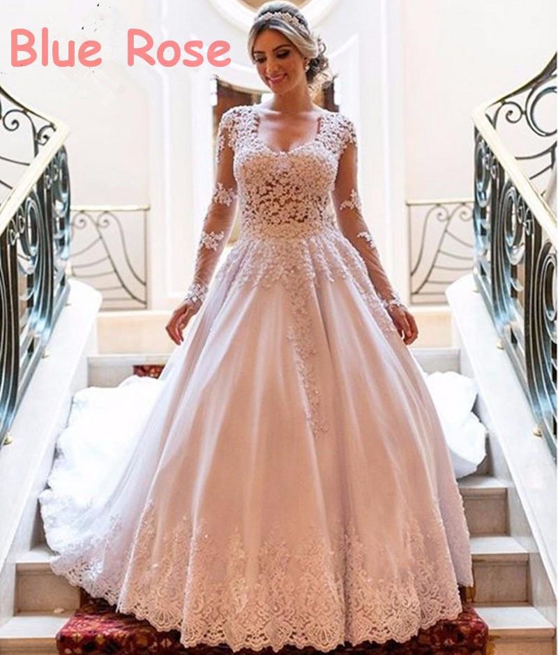 Long Sleeve Lace Wedding Dresses Ball Gown Backless: Vestidos De Noivas Long Sleeve Lace Plus Size Wedding