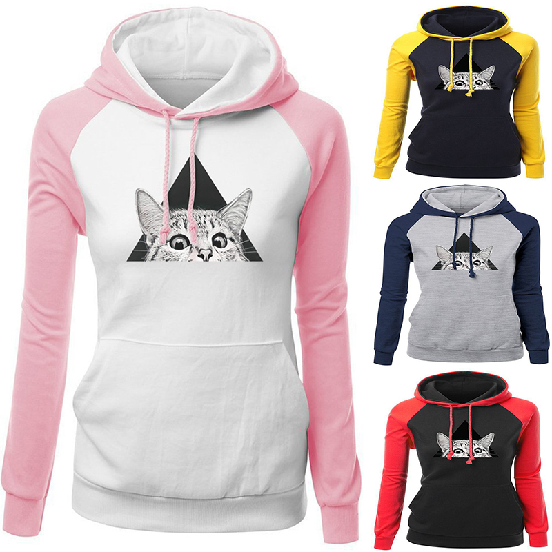 Cartoon Animal Cat Hoodies Hoody Women Casual Coat Sweatshirts Hooded Daily Casual Coat