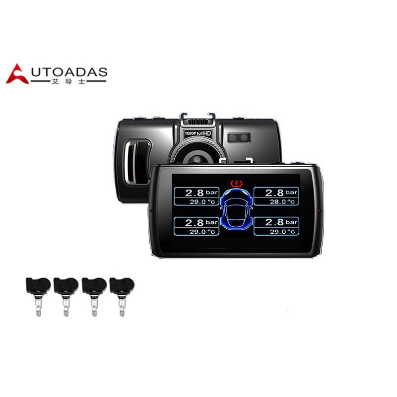 2016 New DVR + TPMS Set 3.0 Inches Full HD 1080P Degrees Tire Pressure Monitoring System Internal Sensors Car Alarm Accessories