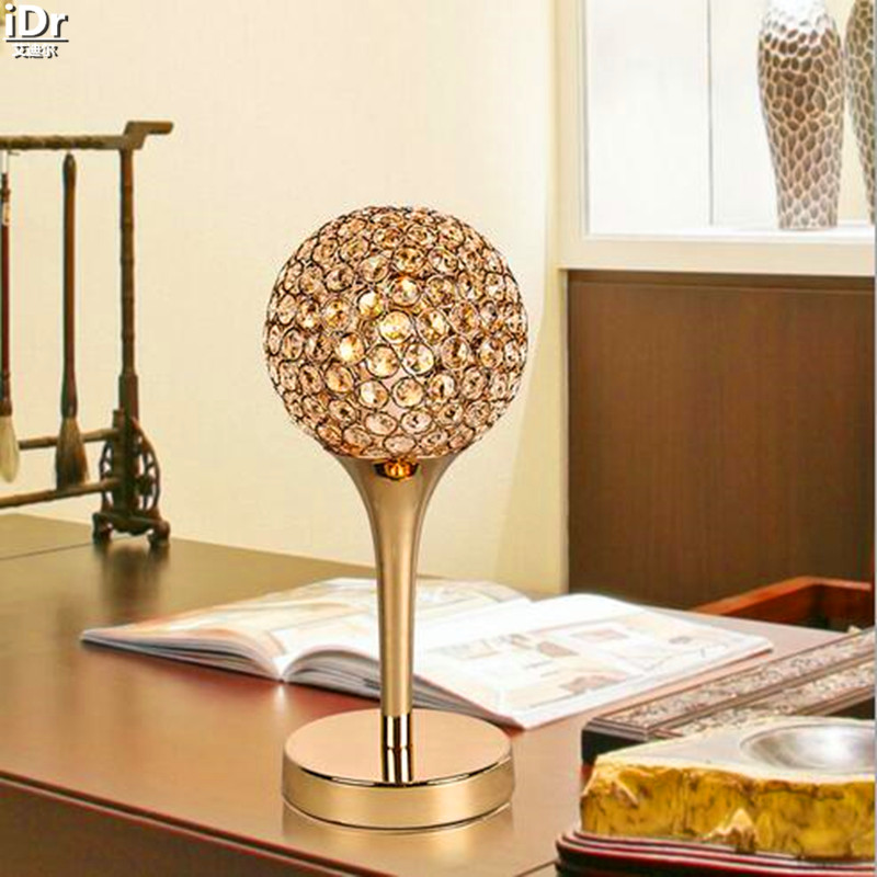 Dimmable Golden minimalist modern creative K9 crystal decorative arts bedside lamp bedroom living room Table Lamps OLU-0055  tuda 2017 free shipping mediterranean sea coral table lamps living room lamp bedroom bedside lamp modern minimalist lamp
