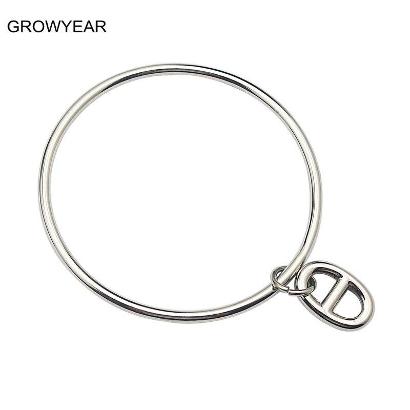 99c705a048 Cor prata Charm Bracelet Mulheres Jóias Em Aço Inoxidável Duplo D Pingentes  Bangle Atacado Varejo Frete Grátis