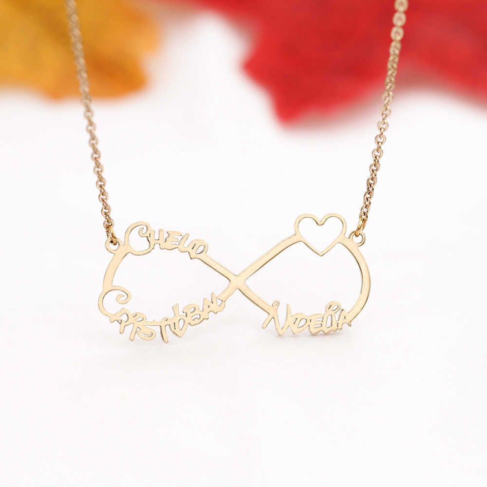 ea731e6146178 Custom Infinity Heart Name Necklace Personalized Mom Women Best Gift for  Family Jewelry Lover Christmas Halloween Day Kids Child