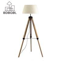 BDBQBL 3 Foot Frame LED Floor Lamp Fabric Lampshade E27 Wood Nordic Rustic Floor Lighting Vintage Foyer/Home/Living Floor Lamp