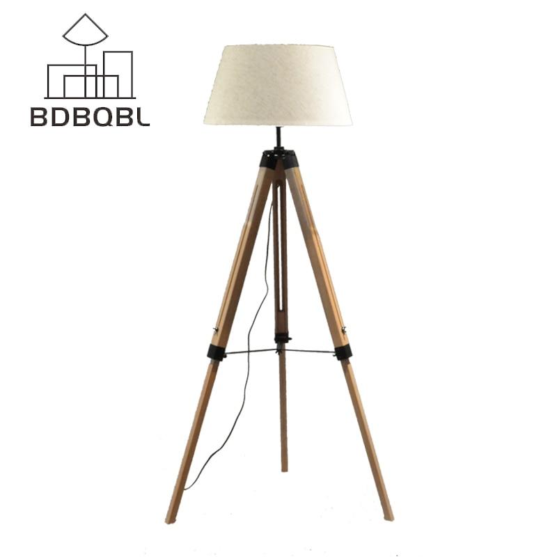 BDBQBL LED Floor Lamp Fabric Lampshade Wood E27 Nordic European Rustic Vintage Art Style Decoration Foyer/Home/Living Room F-5