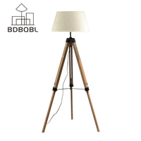 BDBQBL LED Floor Lamp Fabric Lampshade Wood E27 Nordic European Rustic Vintage Art Style Decoration Foyer/Home/Living Room F 5