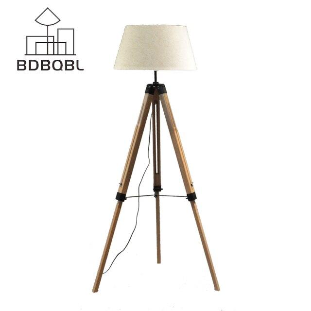 BDBQBL LED Lampadaire Tissu Abat Jour Bois E27 Nordique Européenne