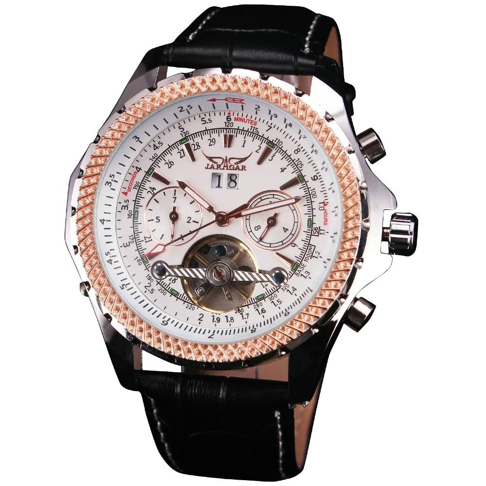 2018 WINNER Luxury Fashion Men Mechanical Self-wind Watches Tourbillon Design Calendar Day Working Sub-dials Leather Band + BOX
