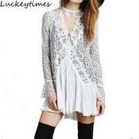 Vestidos Women 2017 O Neck Mini Short White Dresses Lace Irregular Dress People Slim Hook Sexy