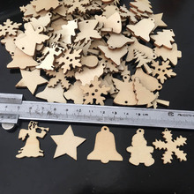 50Pcs/Lot Natural Wood Christmas Ornaments Reindeer Tree Snowflakes Bell Santa Star Christmas Decorations For Home 2018 Navidad