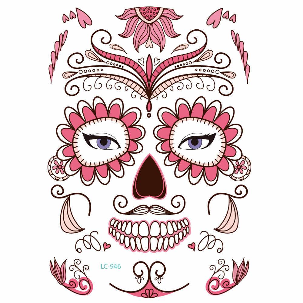 30cbaeacb ... Temporary Tattoo 2PCS Day Of The Dead Dia de los Muertos Face Mask Sugar  Skull Tattoo