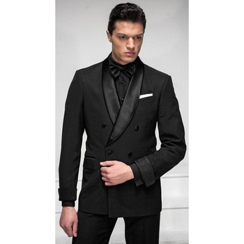 2017 Custom made Black Men Wedding Suits Groom Tuxedo double breasted smoking costume homme wedding suit for men Jacket+Pants