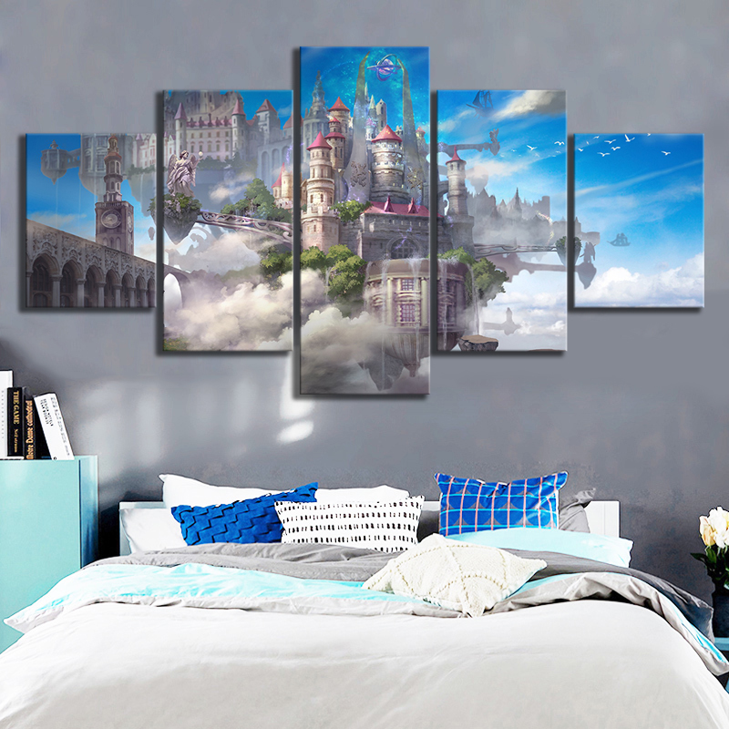 5 Piece HD Fantasy Art Castle In The Sky Canvas Paintings Animation Wall Art for Home Decor 1