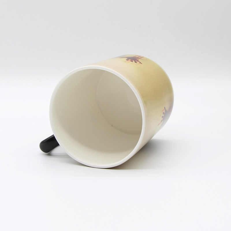 Drop Shipping Bone china Zombie kubek na kawę zmieniający kolor wrażliwy na ciepło kubek do herbaty drukowanie z chodzącymi martwymi krwawymi rękami