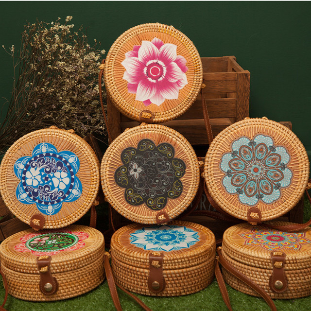 Bali Island Hand Woven Bag Round Bag buckle Rattan  Straw Bags Satchel Wind Bohemia Beach Circle Bag 5