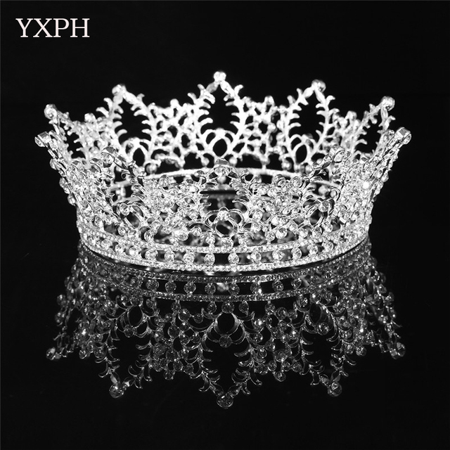 Yxph Classic Hair Jewelry Wedding Accessories Tiara Crown Silver