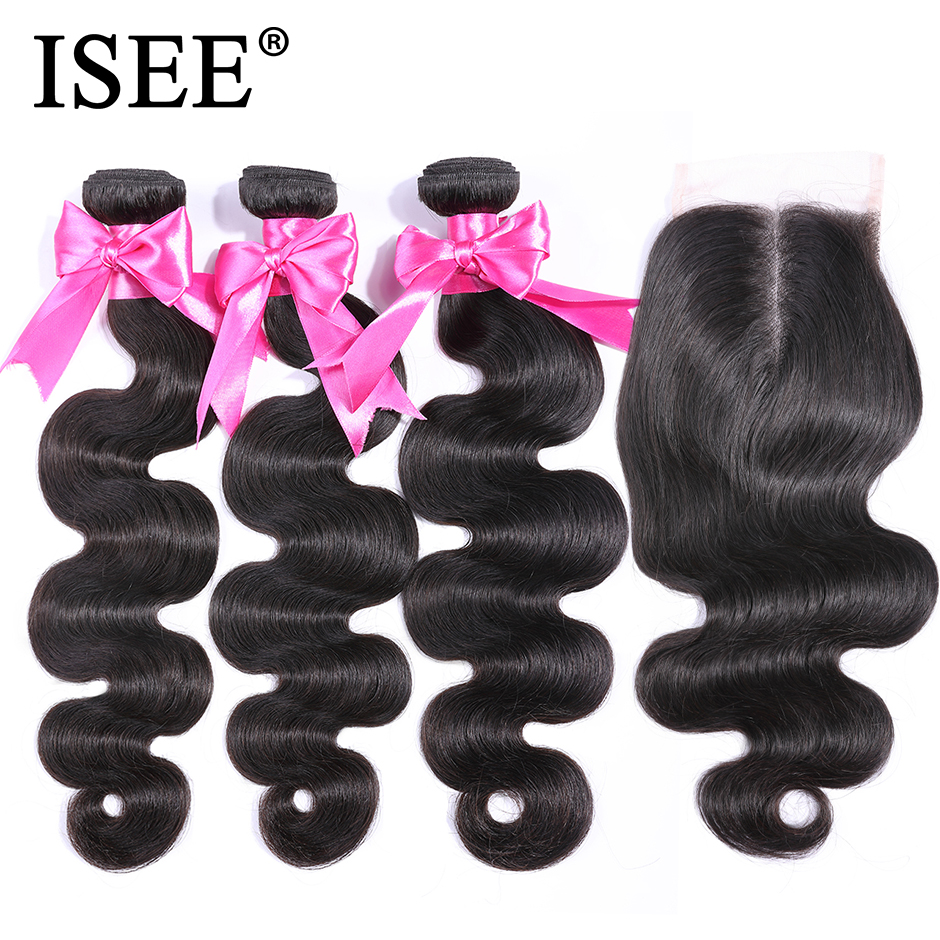 ISEE 3 Bundles Malaysian Body Wave With Closure Human Hair Bundles With Closure 4*4 Middle Part Swiss Lace Remy Hair Extension