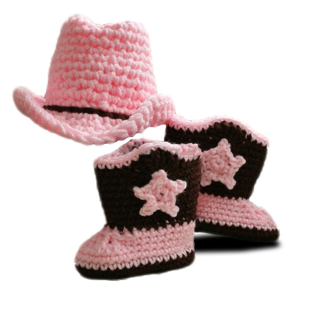 d8d97d356 US $14.81 |Baby lady's cowboy style hat suit,Free Shipping baby girl Hat  and Cool Crochet Boots Handmade Crochet baby hat and booties-in Hats & Caps  ...