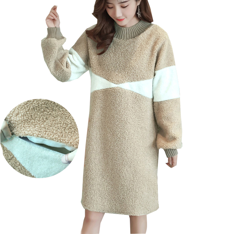 Maternity Nursing Dress Winter Lambwool Thick Warm Breastfeeding Sweatshirt Dresses for Pregnant Women Pregnancy Fashion Clothes green home winter fashion maternity dress pregnant women special design maternity clothes floral print v neck nursing dresses