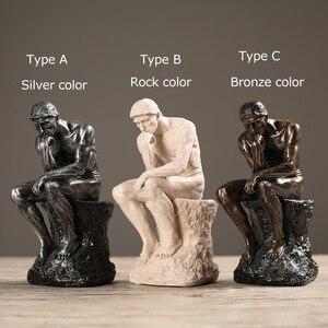 Image 4 - ERMAKOVA מופשט אמנות החושב פסל חשיבה של אתה צלמית טבעי אבן חול מלאכת פיסול מודרני בית משרד קישוט