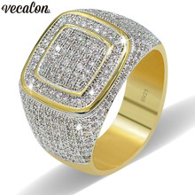 Vecalon Luxury Big Hiphop Rock rings for men Pave setting 274pcs AAAAA cz Stone Yellow Gold Filled 925 silver male Party ring