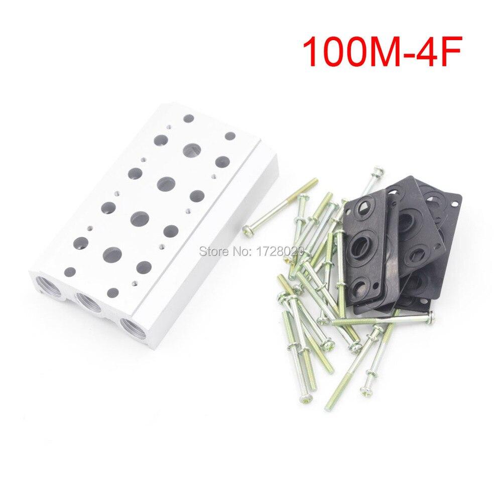 Free Shipping 1 PC 100M-4F Magnetic Valve Base Solenoid Valve Board free shipping 1 pc full black white 100
