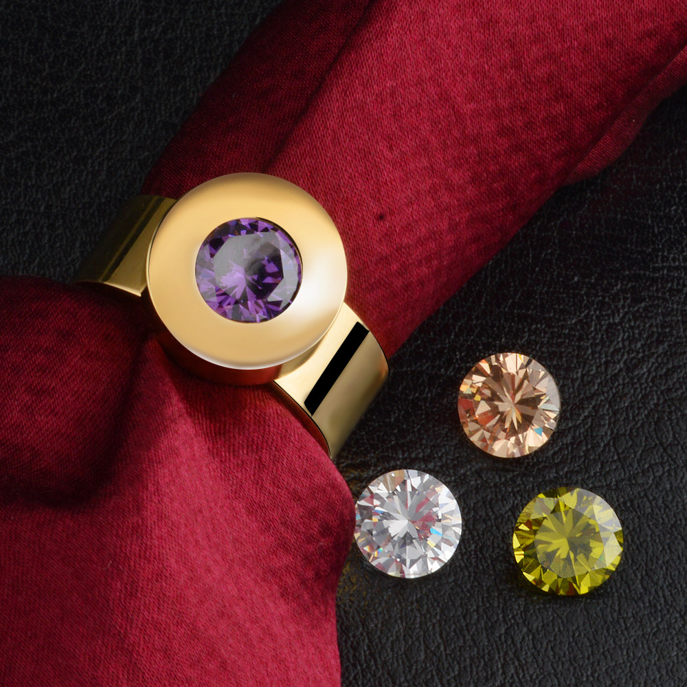 8mm Width Round Changeable 4 Colors Crystal Gold Color 316L Stainless Steel Rings For Women MEN