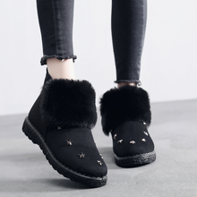 Ankle Boots Women Flats Snow Suede Winter Warm Plush Shoes Black Brown Short New Fur