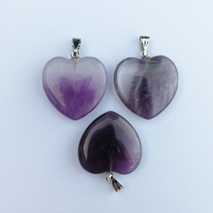 Image 4 - Fashion Good quality Purple crystal 20mm heart Natural stone pendants Charm Jewelry Love pendant for jewelry making 50Pcs/lot