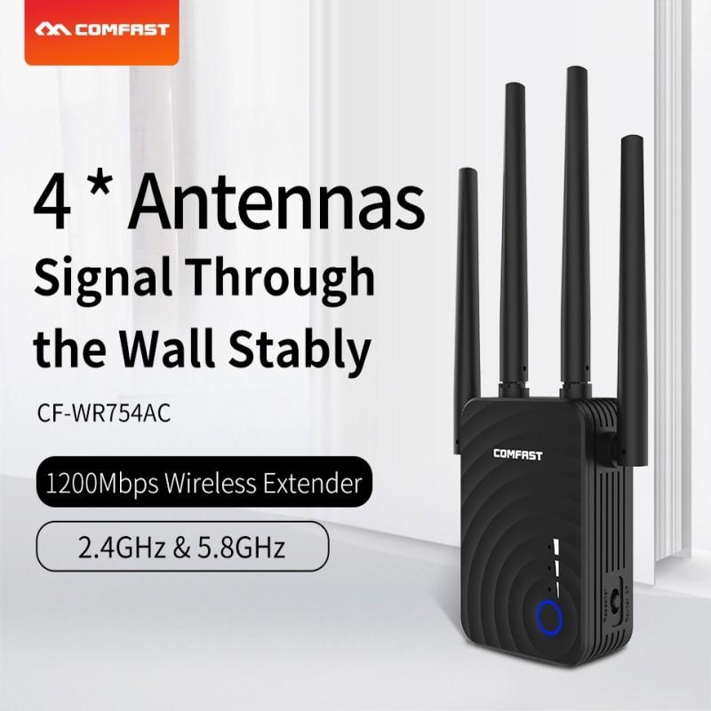 1200Mbps doble banda ac WiFi Router Wifi extensor de señal amplificador de señal Repetidor con puerto Ethernet RJ45 con 4 antena