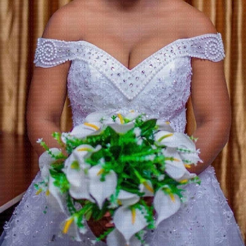 2020 African Sexy V-neck Ball Gown Wedding Dress Elegant Off The Shoulder Arabic Bridal Gowns Vestido De Novia