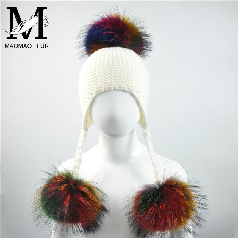Baby Knitted Winter Hats Child Real Raccoon Fur Pompom Cap Kids Warm Beanies Girls Boys Ears Fur Hat