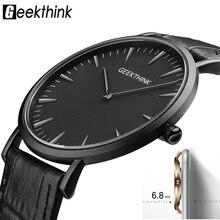 GEEKTHINK 2017 Nouveau ultra mince Top marque Quartz-Montre Gentalman Minimaliste tendance Bracelet en cuir Montre-Bracelet Simple Classique conception