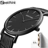 GEEKTHINK 2017 New Ultra Slim Top Brand Quartz Watch Gentalman Minimalist Trend Leather Strap Wristwatch Simple