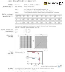 Image 2 - 100Pcs 5.03W 20.6% effcienza grado A 156*156MM cella solare in silicio monocristallino Mono fotovoltaico 6x6 per pannello solare