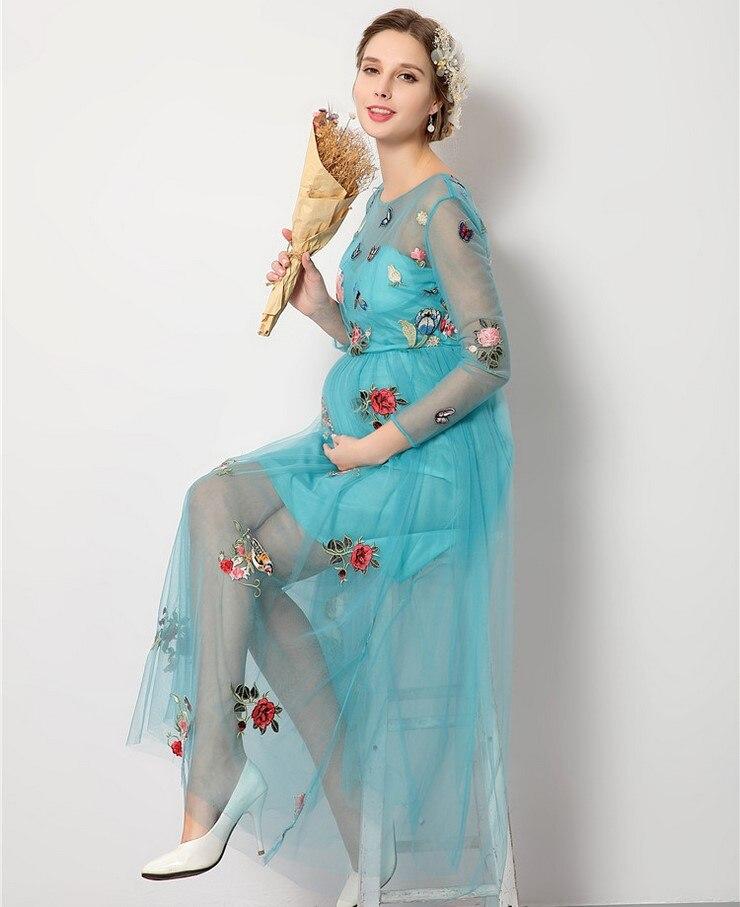 Blume stickerei blau sommer umstandskleid nacht teil kleider für ...