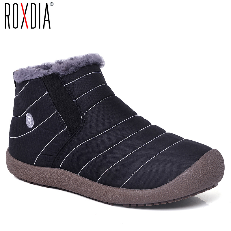 ROXDIA brand fashion warm women men snow boots steel waterproof soft male winter shoes plus size 36-48 RXM131 image