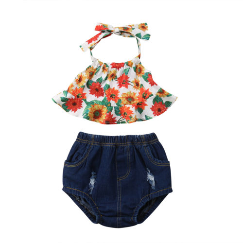 Newborn Toddle Baby Girls Sunflower Clothes Outfits Halter T-shirt Sleeveless Tops Denim Shorts Outfits Baby Girl 0-3T