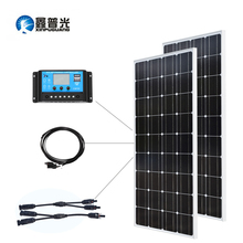 Xinpuguang12V/24V/20A Controller 100w Glass Solar Panel Monocrystalline Cell PV Module 200w DIY Kit 12V Battery Charger
