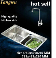 Tangwu Высококачественная кухонная раковина из нержавеющей стали 304 с двойным канавком и корзиной для мозга 750x400x215/783x433x220 мм