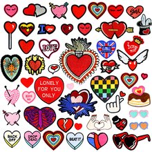 Heart Shape Iron Patches for Clothing Biker Small Red Embroidery On Kids Jackets Clothes backpacks Repasser