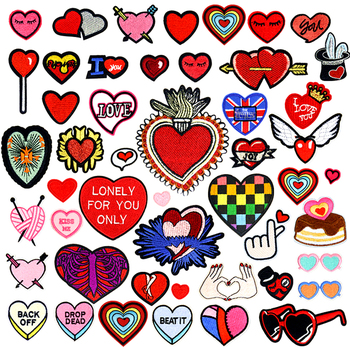 Heart Shape Iron Patches for Clothing Biker Small Red Embroidery Iron On Patches for Kids Jackets Clothes backpacks Repasser image