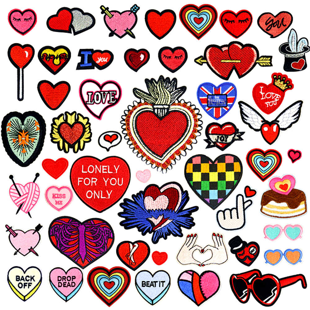 Heart Shape Iron Patches for Clothing Biker Small Red Embroidery Iron On Patches for Kids Jackets Clothes backpacks Repasser